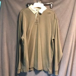 LL bean size large rugby pullover olive green fade